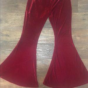 Pants - Red Velvet Bell Bottoms